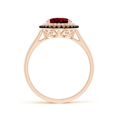 Toggle Vintage Style Double Halo Oval Garnet Ring