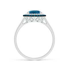 Toggle Vintage Style Double Halo Oval London Blue Topaz Ring