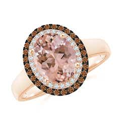 Vintage Style Double Halo Oval Morganite Ring