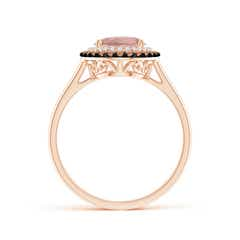 Toggle Vintage Style Double Halo Oval Morganite Ring