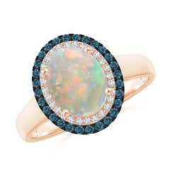 Vintage Style Double Halo Oval Opal Ring