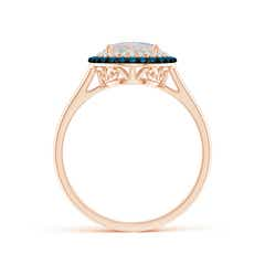 Toggle Vintage Style Double Halo Oval Opal Ring