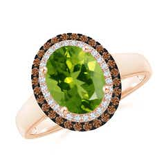 Vintage Style Double Halo Oval Peridot Ring
