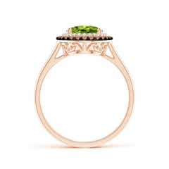 Toggle Vintage Style Double Halo Oval Peridot Ring