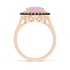 Toggle Vintage Style Double Halo Oval Rose Quartz Ring