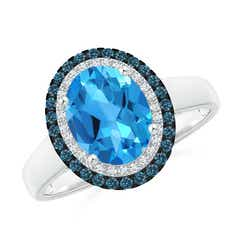 Angara Cushion Swiss Blue Topaz Cocktail Ring with Sapphire Halo