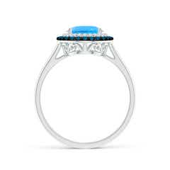 Toggle Vintage Style Double Halo Oval Swiss Blue Topaz Ring