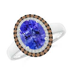 Vintage Style Double Halo Oval Tanzanite Ring