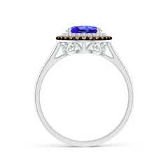 Toggle Vintage Style Double Halo Oval Tanzanite Ring