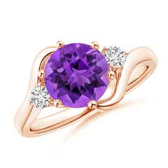 Round Amethyst and Diamond Three Stone Bypass Ring