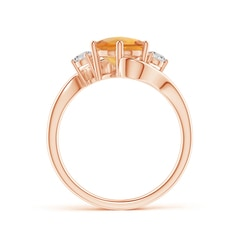 Toggle Round Citrine and Diamond Three Stone Bypass Ring
