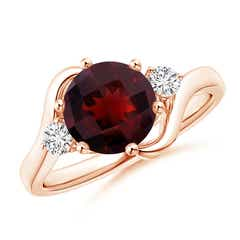 Round Garnet and Diamond Three Stone Bypass Ring