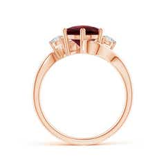 Toggle Round Garnet and Diamond Three Stone Bypass Ring