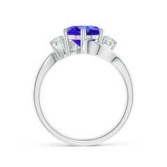 Toggle Round Tanzanite and Diamond Three Stone Bypass Ring