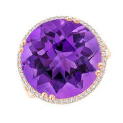 Vintage Style Amethyst Cocktail Ring with Diamond Halo