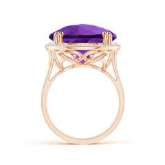 Toggle Vintage Style Amethyst Cocktail Ring with Diamond Halo
