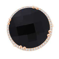 Vintage Style Black Onyx Cocktail Ring with Diamond Halo