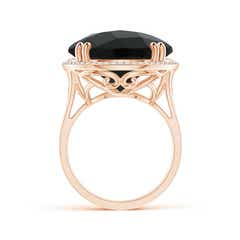 Toggle Vintage Style Black Onyx Cocktail Ring with Diamond Halo