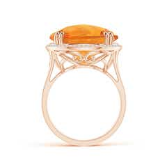 Toggle Vintage Style Citrine Cocktail Ring with Diamond Halo