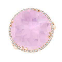Vintage Style Rose Quartz Cocktail Ring with Diamond Halo