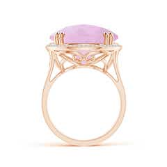 Toggle Vintage Style Rose Quartz Cocktail Ring with Diamond Halo