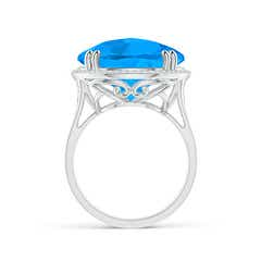 Toggle Vintage Style Swiss Blue Topaz Cocktail Ring with Halo