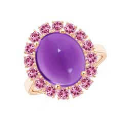 Oval Cabochon Amethyst and Pink Tourmaline Halo Ring