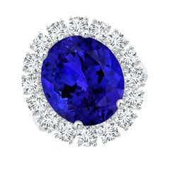 GIA Certified Oval Cabochon Tanzanite Ring with Diamond Halo