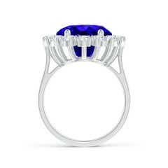 Toggle GIA Certified Oval Tanzanite Ring with Diamond Halo