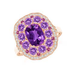Cushion Amethyst Cocktail Ring with Milgrain Detailing