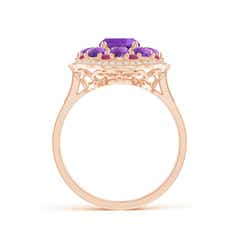 Toggle Cushion Amethyst Cocktail Ring with Milgrain Detailing