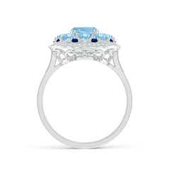 Toggle Cushion Aquamarine Cocktail Ring with Milgrain Detailing
