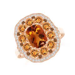 Cushion Citrine Cocktail Ring with Milgrain Detailing
