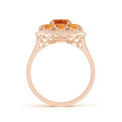 Toggle Cushion Citrine Cocktail Ring with Milgrain Detailing