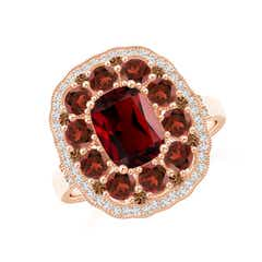 Cushion Garnet Cocktail Ring with Milgrain Detailing