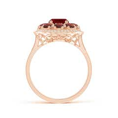Toggle Cushion Garnet Cocktail Ring with Milgrain Detailing