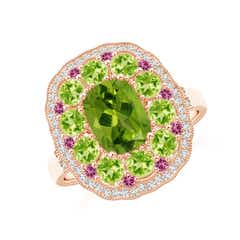 Cushion Peridot Cocktail Ring with Milgrain Detailing