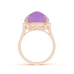 Toggle Sugarloaf Cabochon Amethyst Ring with Diamond Halo