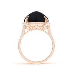 Toggle Sugarloaf Cabochon Black Onyx Ring with Diamond Halo