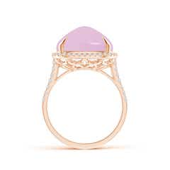 Toggle Sugarloaf Cabochon Rose Quartz Ring with Diamond Halo