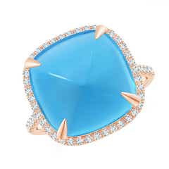 Sugarloaf Cabochon Swiss Blue Topaz Ring with Diamond Halo