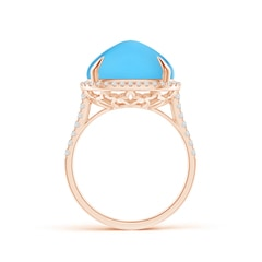 Toggle Sugarloaf Cabochon Swiss Blue Topaz Ring with Diamond Halo