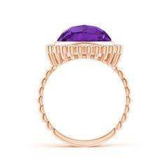 Toggle Bezel Set Round Amethyst Ring with Beaded Shank