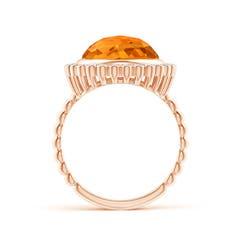 Toggle Bezel Set Round Citrine Ring with Beaded Shank