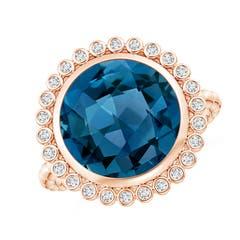 Bezel Set Round London Blue Topaz Ring with Beaded Shank