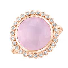 Bezel Set Round Rose Quartz Ring with Beaded Shank