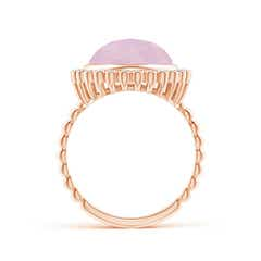 Toggle Bezel Set Round Rose Quartz Ring with Beaded Shank