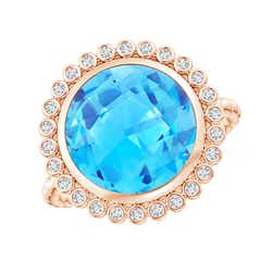 Bezel Set Round Swiss Blue Topaz Ring with Beaded Shank