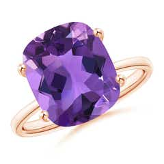 Prong-Set Cushion Amethyst Cocktail Ring