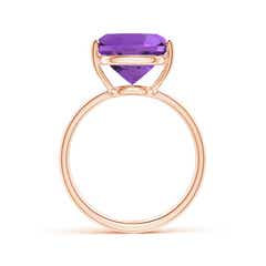 Angara Dome Shank Cushion Amethyst Cocktail Ring